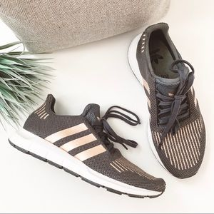 Adidas Swift Run Athletic Shoes Grey Rose Gold